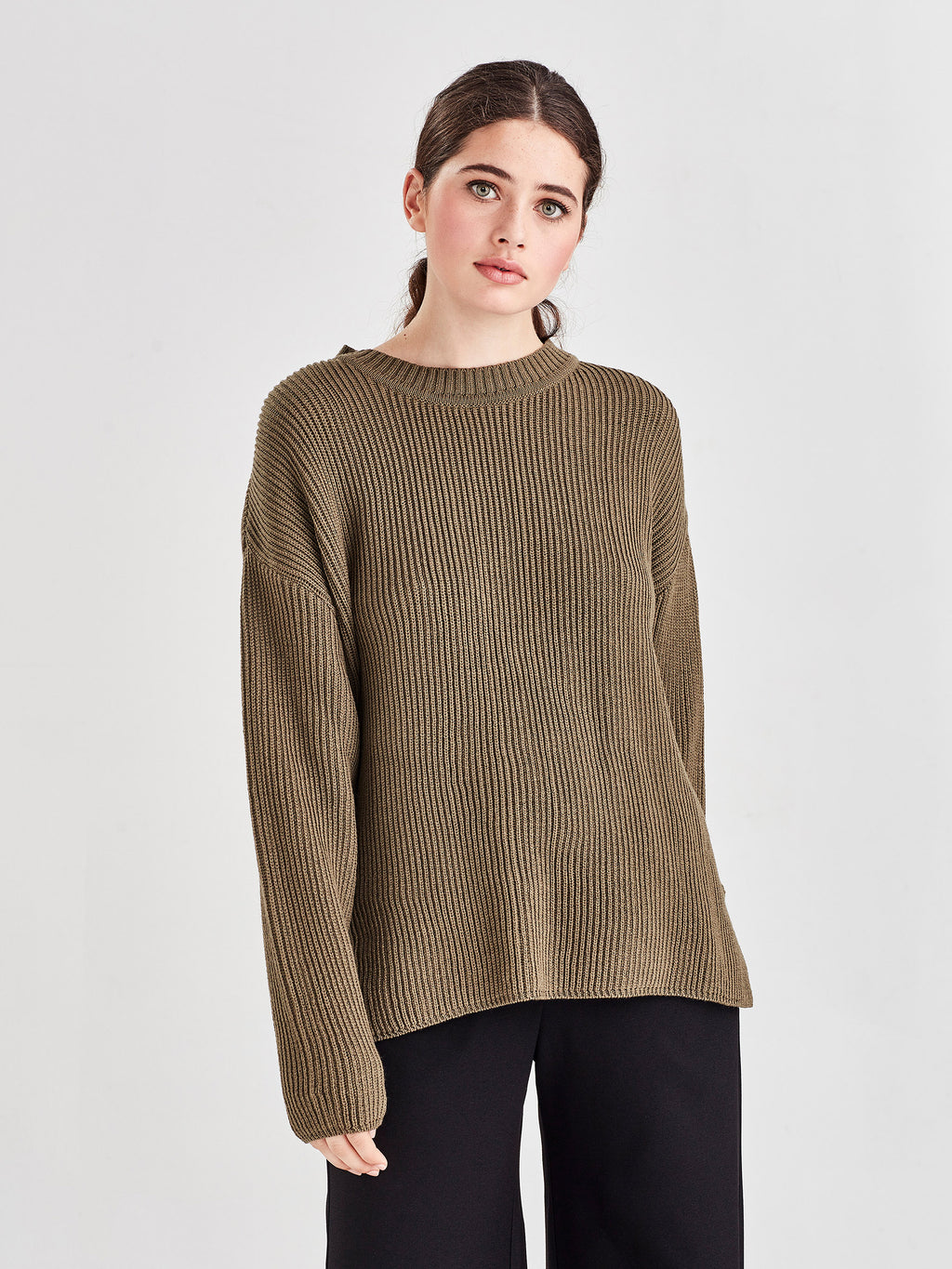 Merino Rib Sweater (Merino Knit) Green Olive