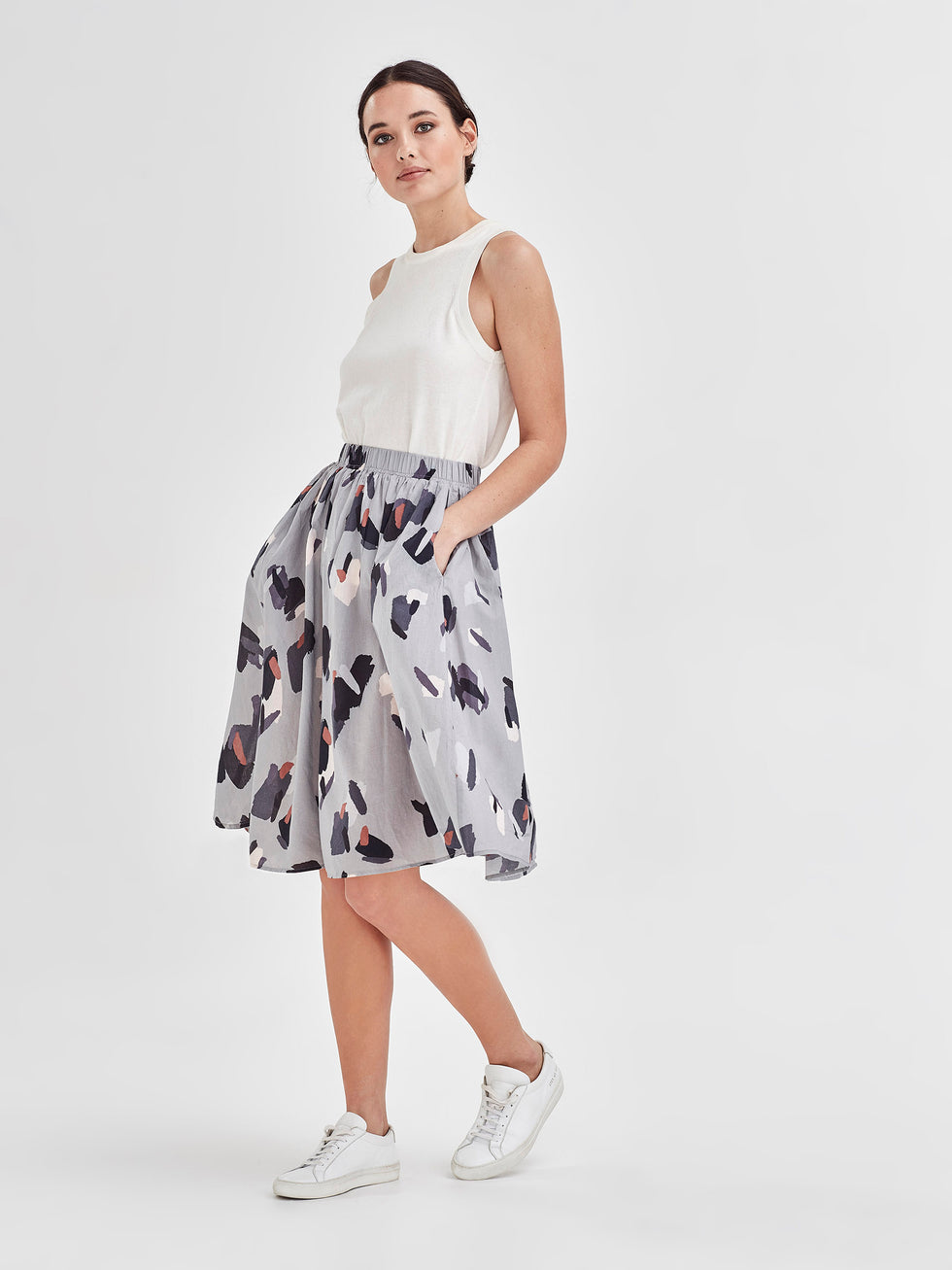 Archer Skirt (Palette Print Cotton) Sky