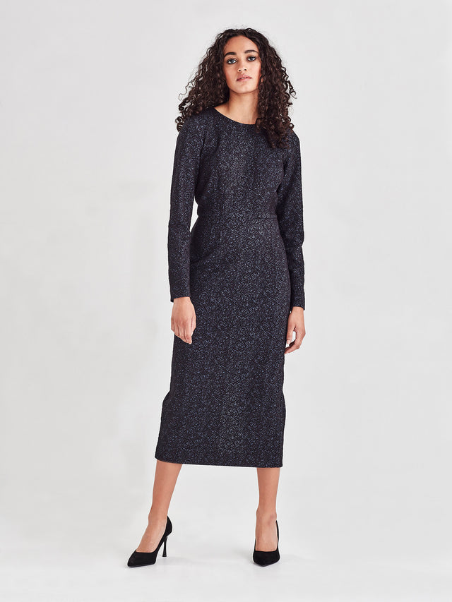 Colleen Dress (Rose Stretch Jacquard) Navy Rose