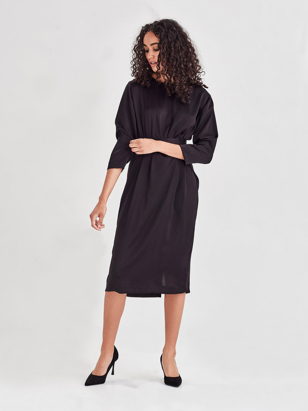 Valencia Dress (Satin Triacetate) Black