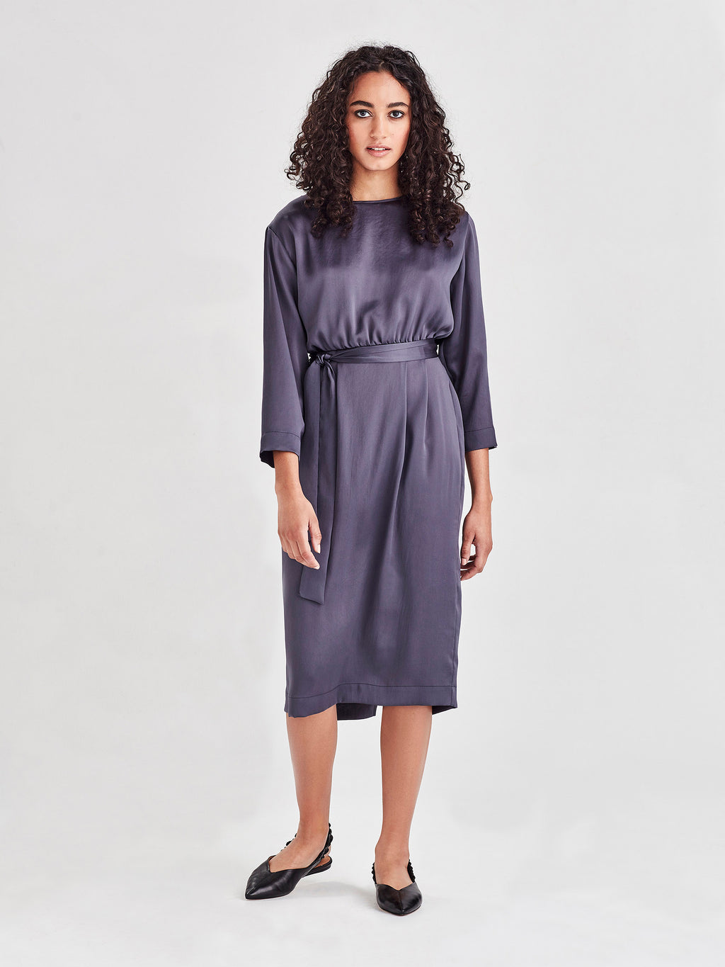 Valencia Dress (Satin Triacetate) Smoke