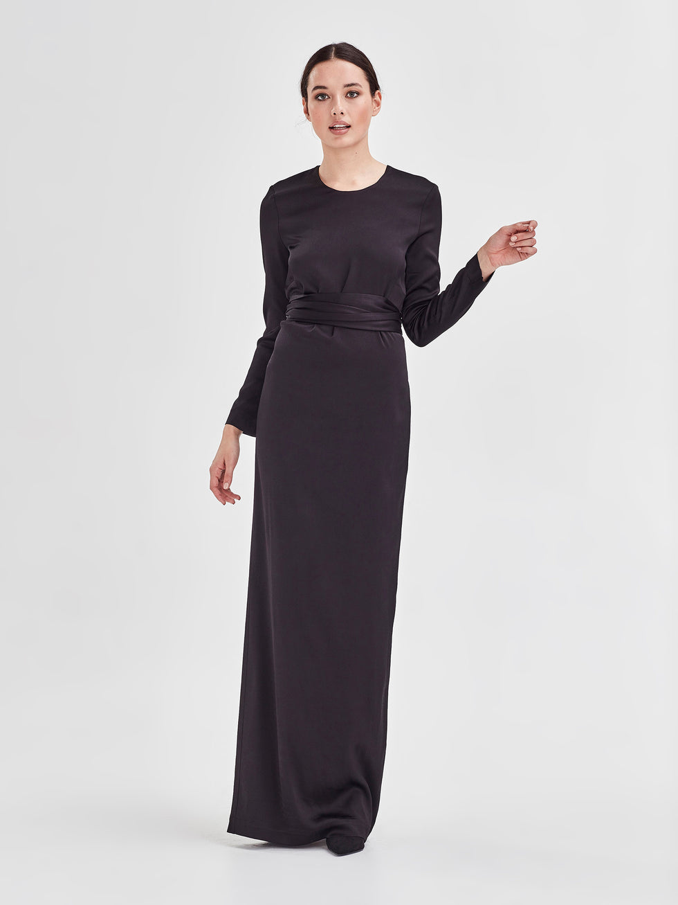 Honor Dress (Stretch Satin) Black