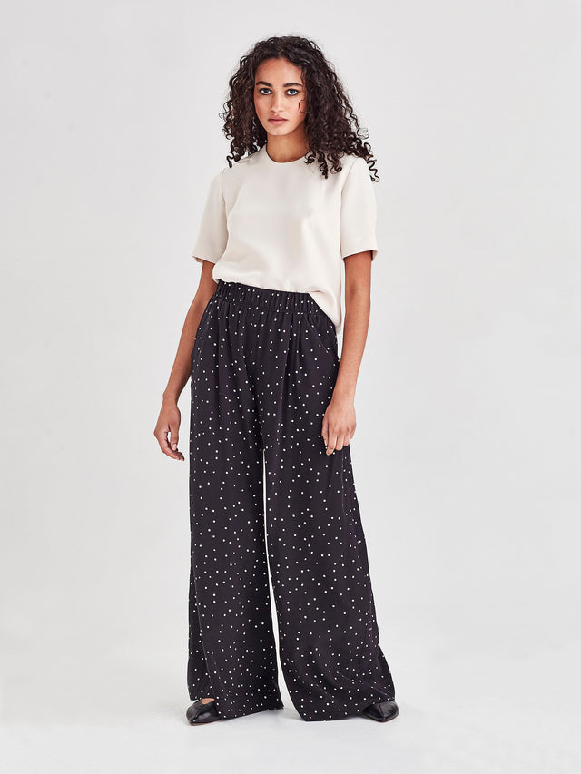 Ashley Pant (Spotty Viscose) Black Dot