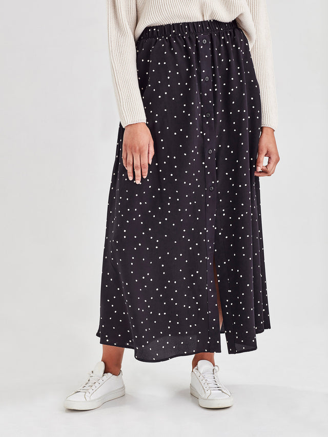 Lara Skirt (Spotty Viscose) Black Dot