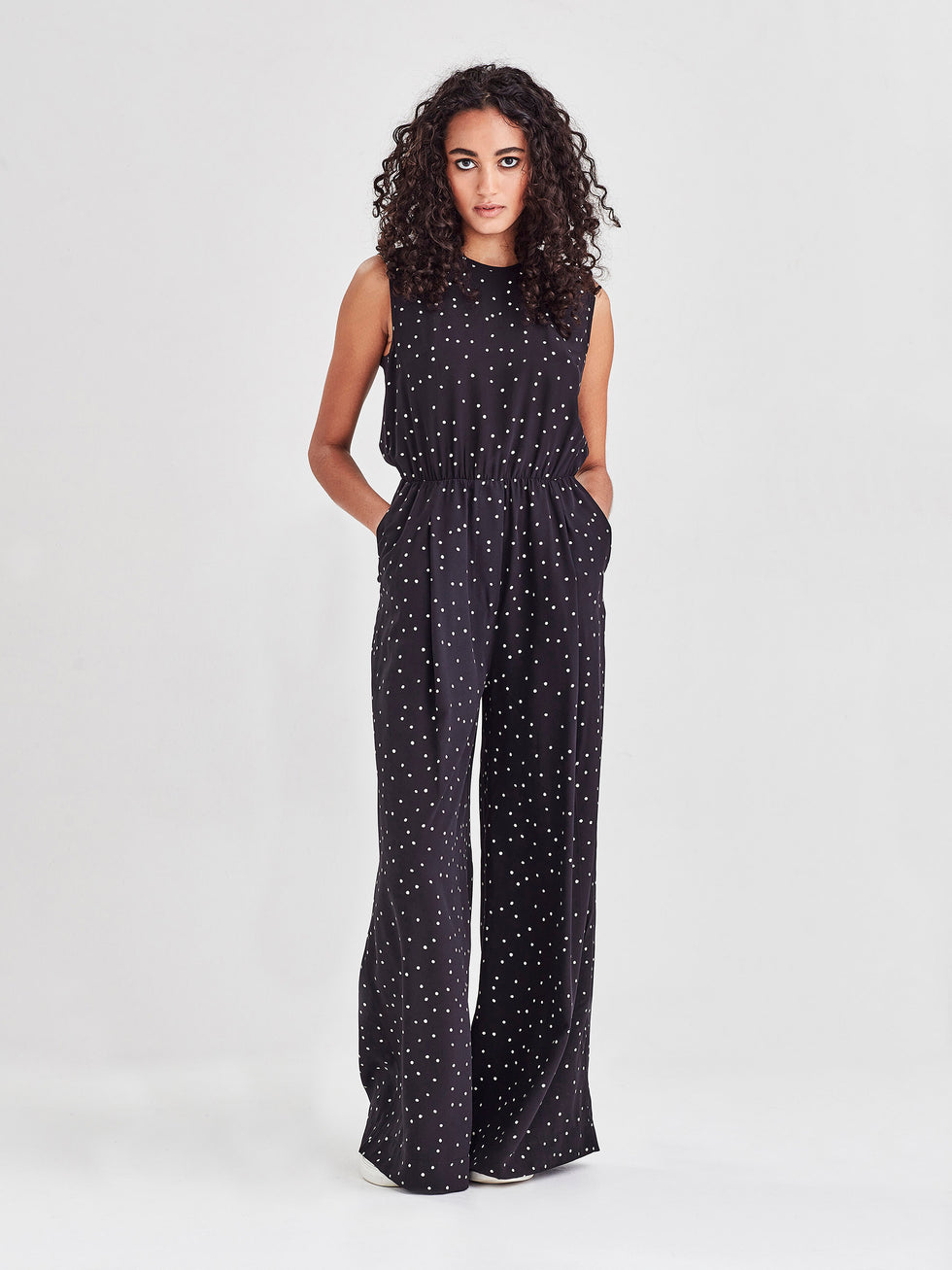 Loren Jumpsuit (Spotty Viscose Silk) Black Dot