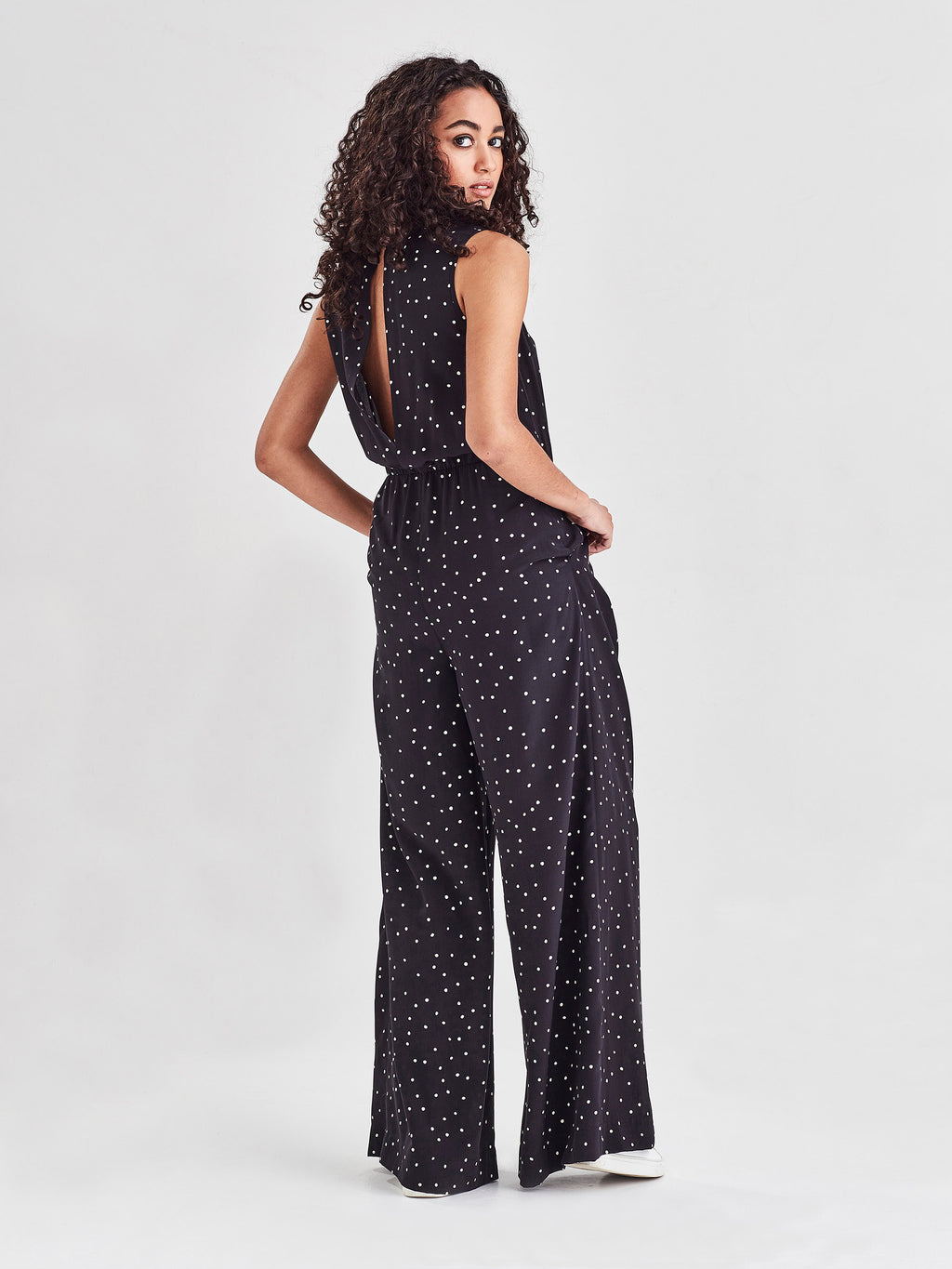 Loren Jumpsuit (Spotty Viscose) Black Dot