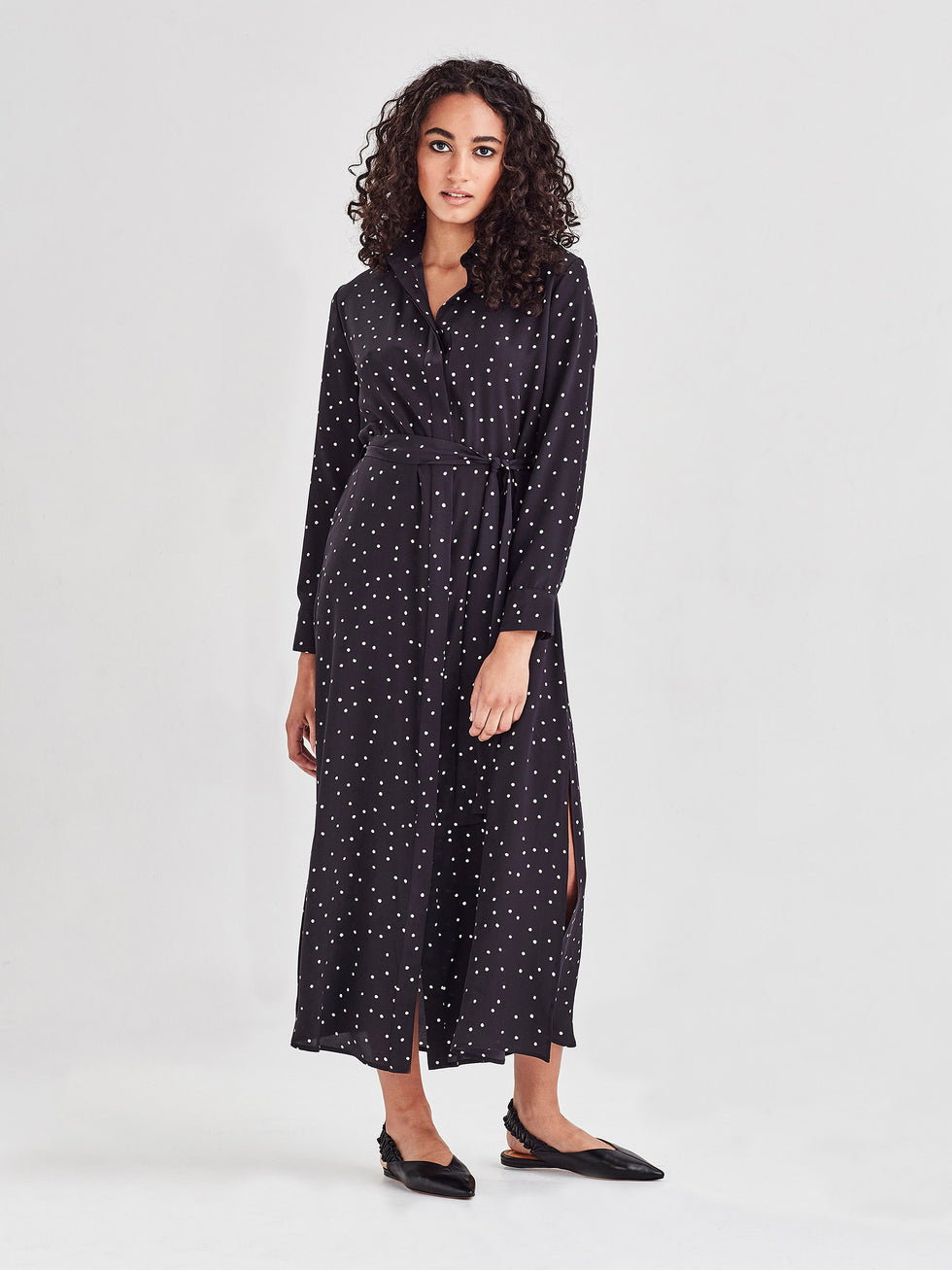 Lucia Dress (Spotty Viscose Silk) Black Dot