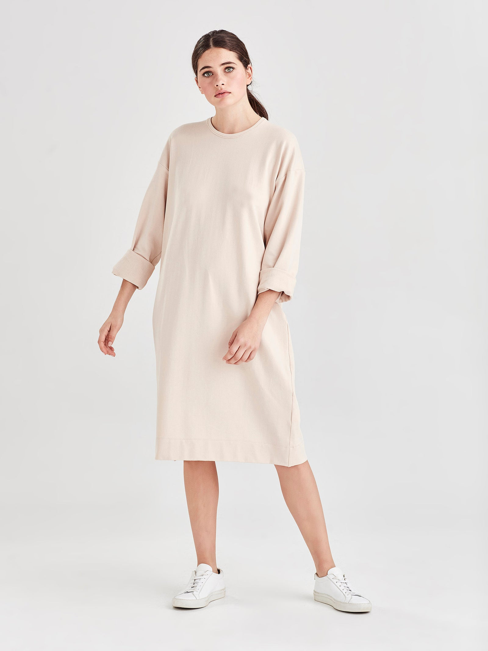 L/S Box T Dress (Luxe Cotton Sweatshirting) Powder