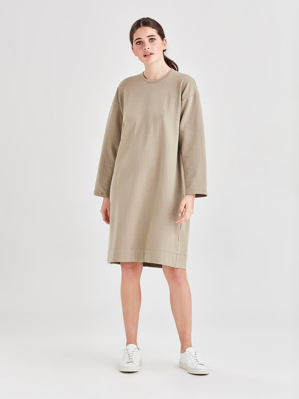 L/S Box T Dress (Luxe Cotton Sweatshirting) Sage