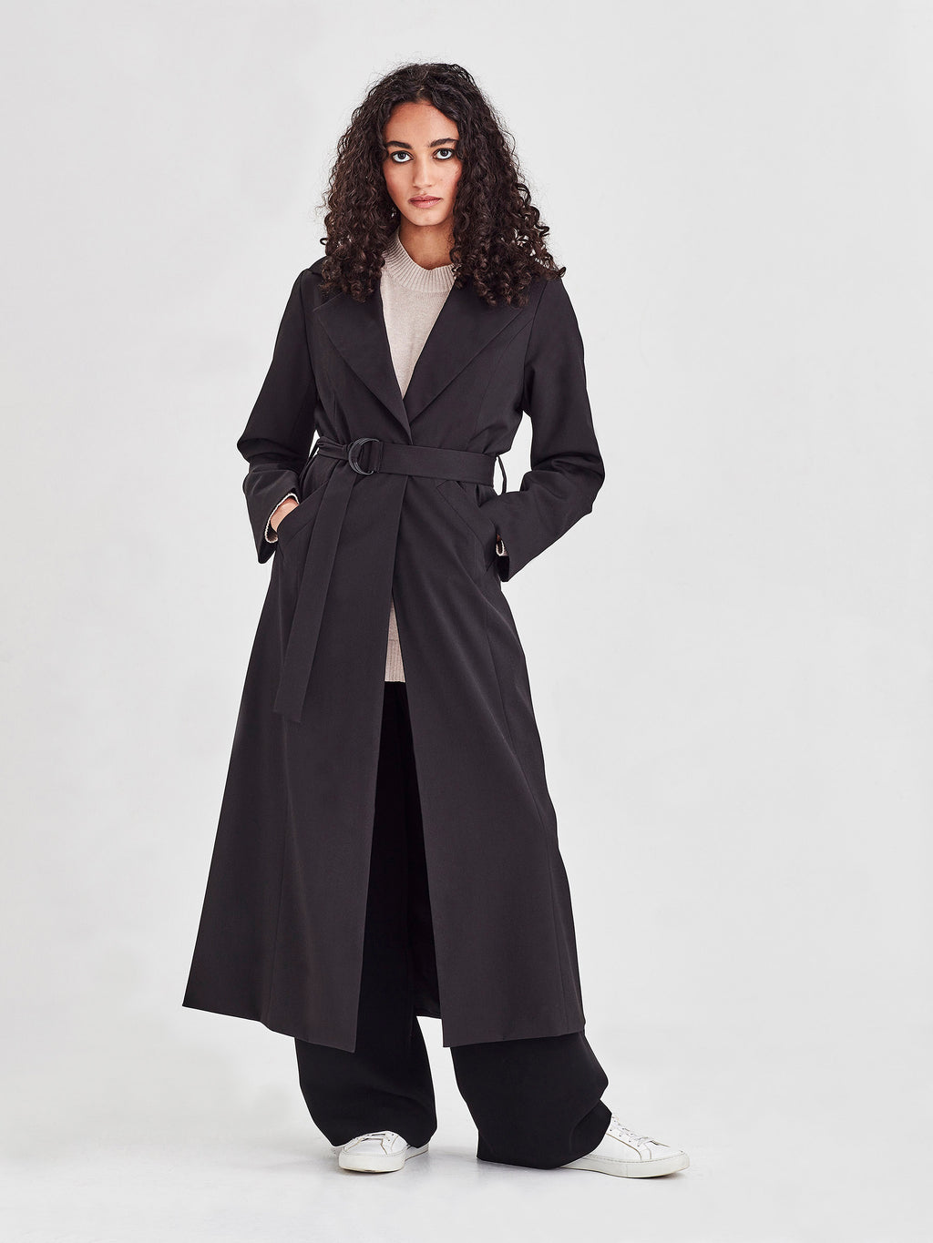 Del Mar Trench (Heavy Wool Suiting) Black