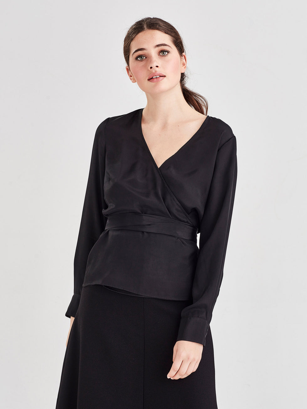 Danny Blouse (Viscose Silk) Black