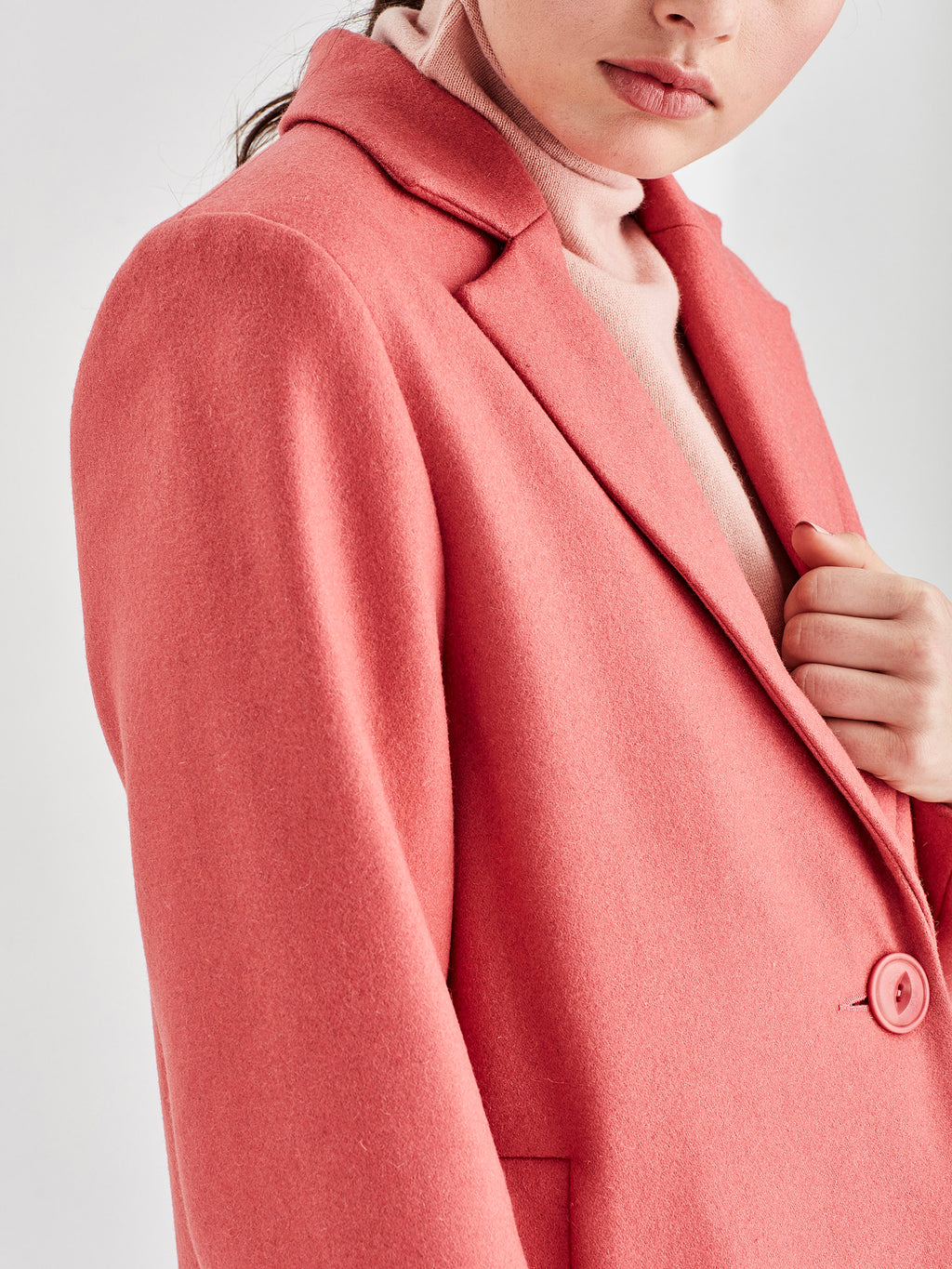 Wednesday Coat (Wool Melton) Coral