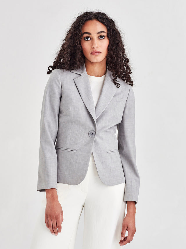 Jilly Jacket (Silver Wool Suiting) Fog