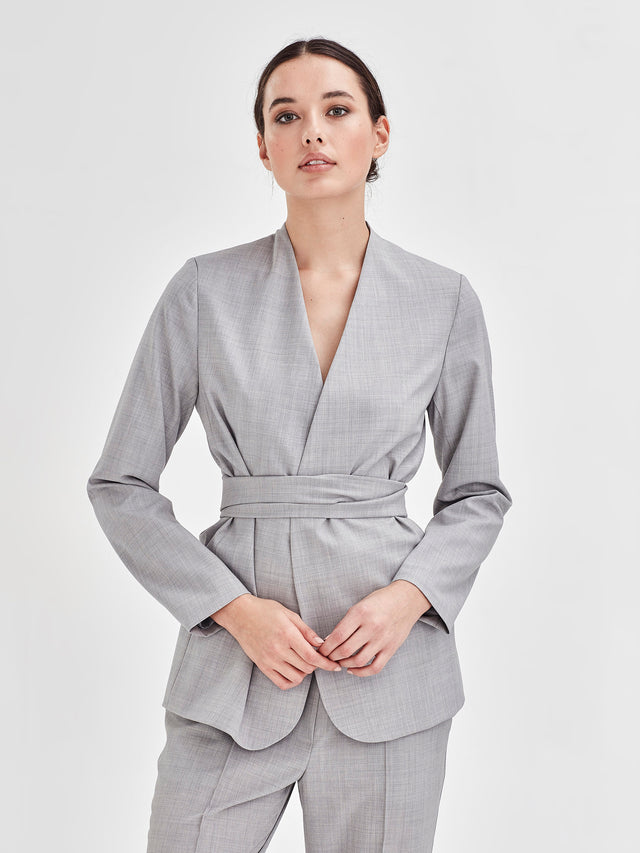 Lindsay Blazer (Silver Wool Suiting) Fog