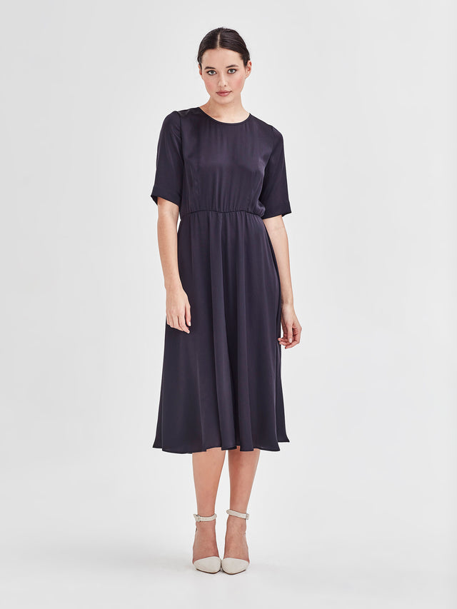 Alba Dress (Satin Triacetate) Smoke 2