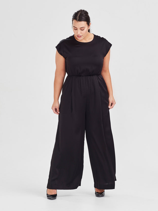 Ella Jumpsuit (Satin Triacetate) Black