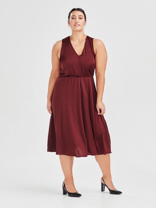 Fleur Dress (Satin Triacetate) Wine 2