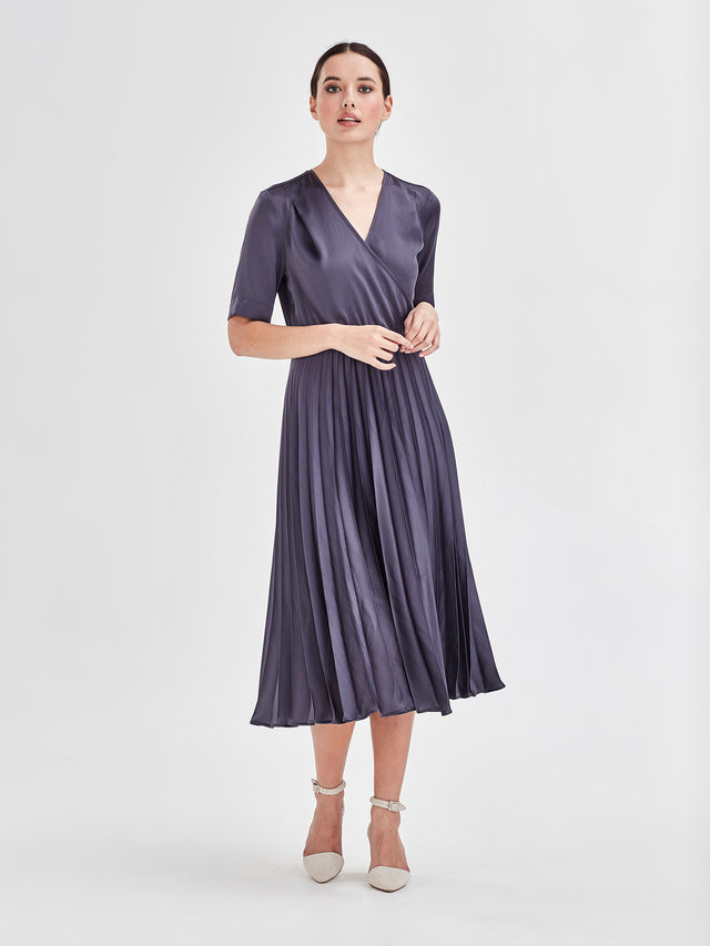 Oliver Dress (Satin Triacetate) Smoke 1