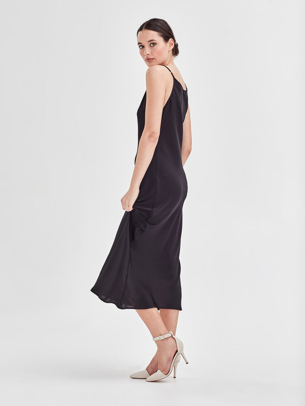 Sigrid Slip (Satin Triacetate) Black
