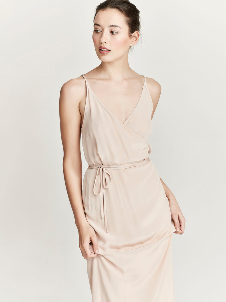 Agatha Wrap Dress, Nude