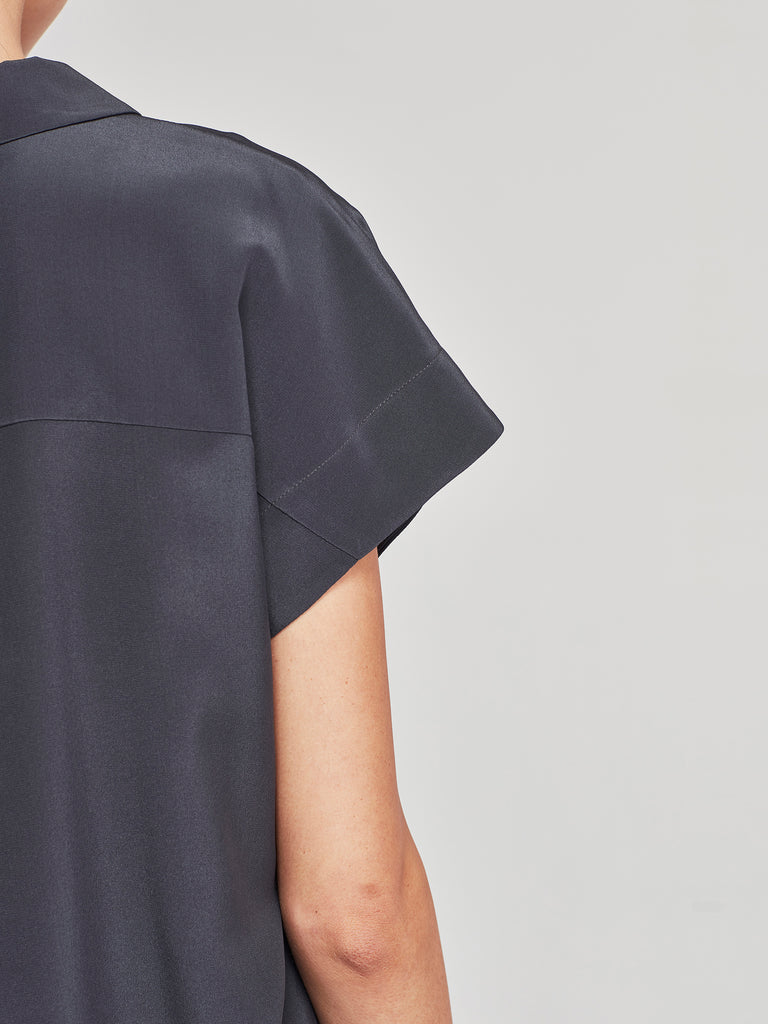 Strike Shirt (Silk Crepe De Chine) Smoke