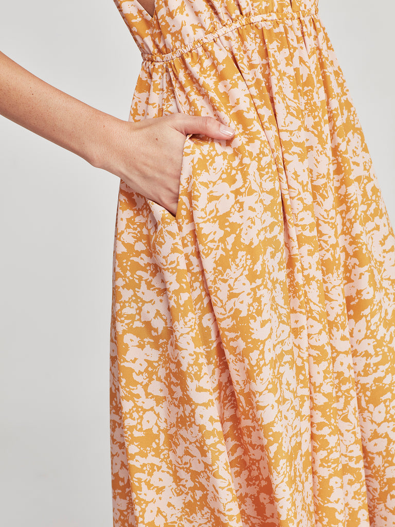 Gail Dress (Damas Silk) Sunshine