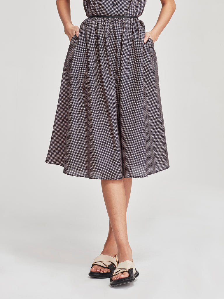 Dior Skirt (Illusion Silk Cotton) Optical Blue