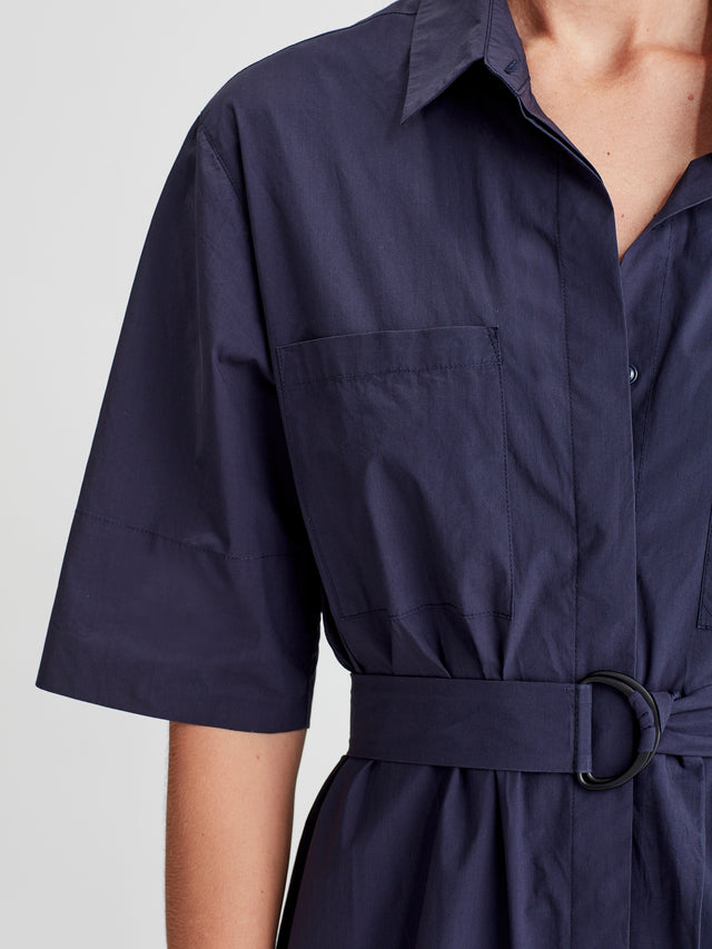 Mila shirt Dress (Crisp Poplin) Royal