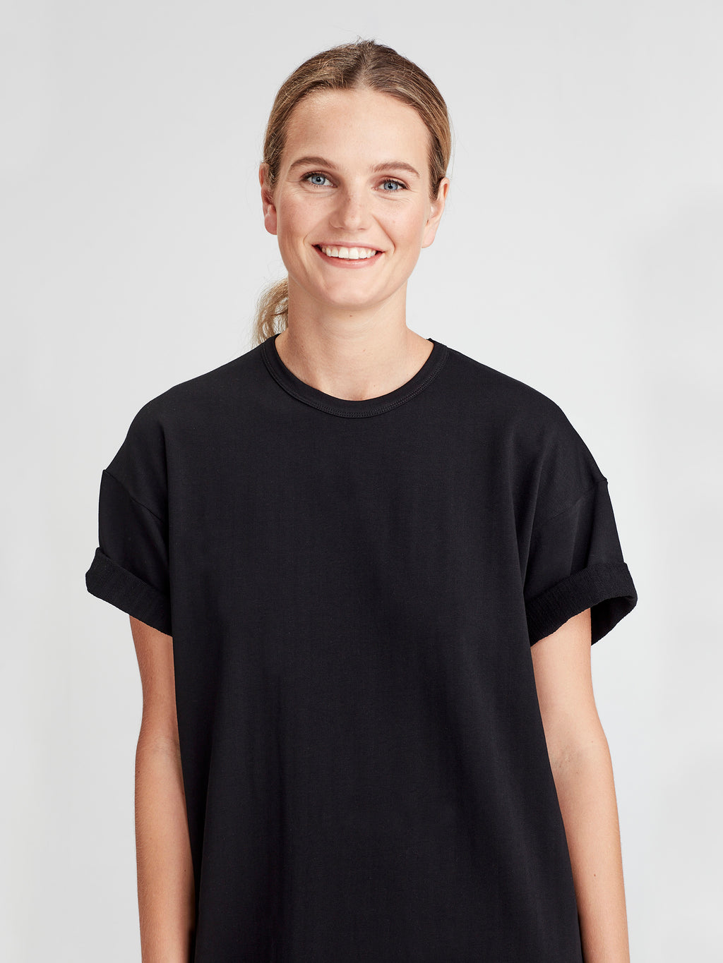 Luxe Box T Dress (Luxe Cotton Sweat Shirting) Black