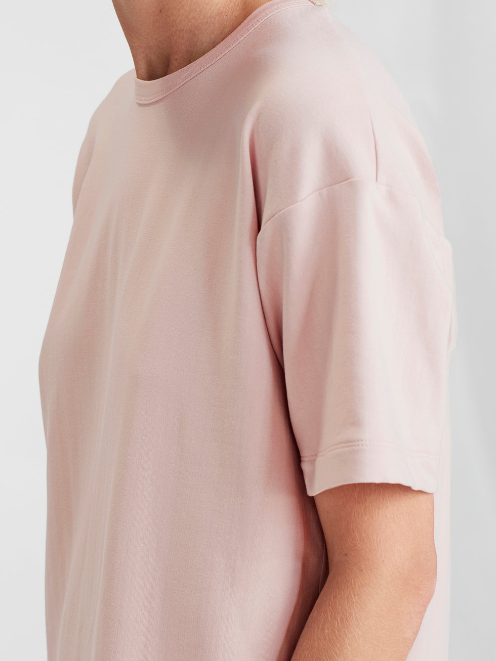 Luxe Box T Dress (Luxe Cotton Sweat Shirting) Dusky Rose