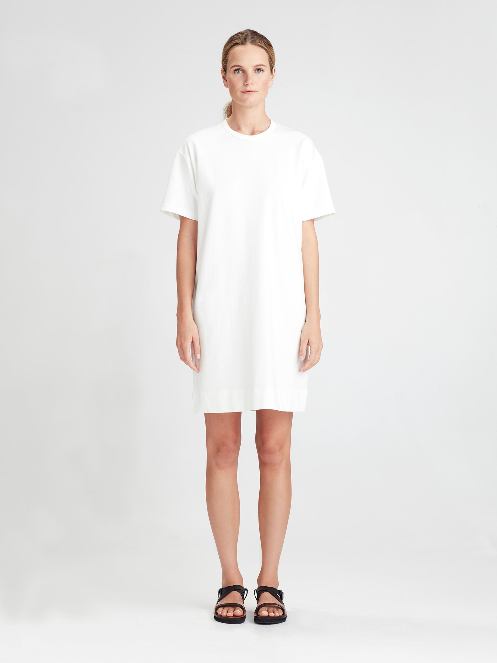 Luxe Box T Dress (Luxe Cotton Sweat Shirting) White