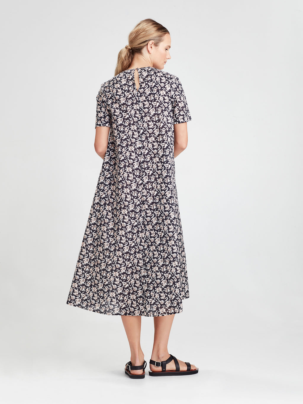 Temperly Dress (Scatter Floral Cotton) Night Rose