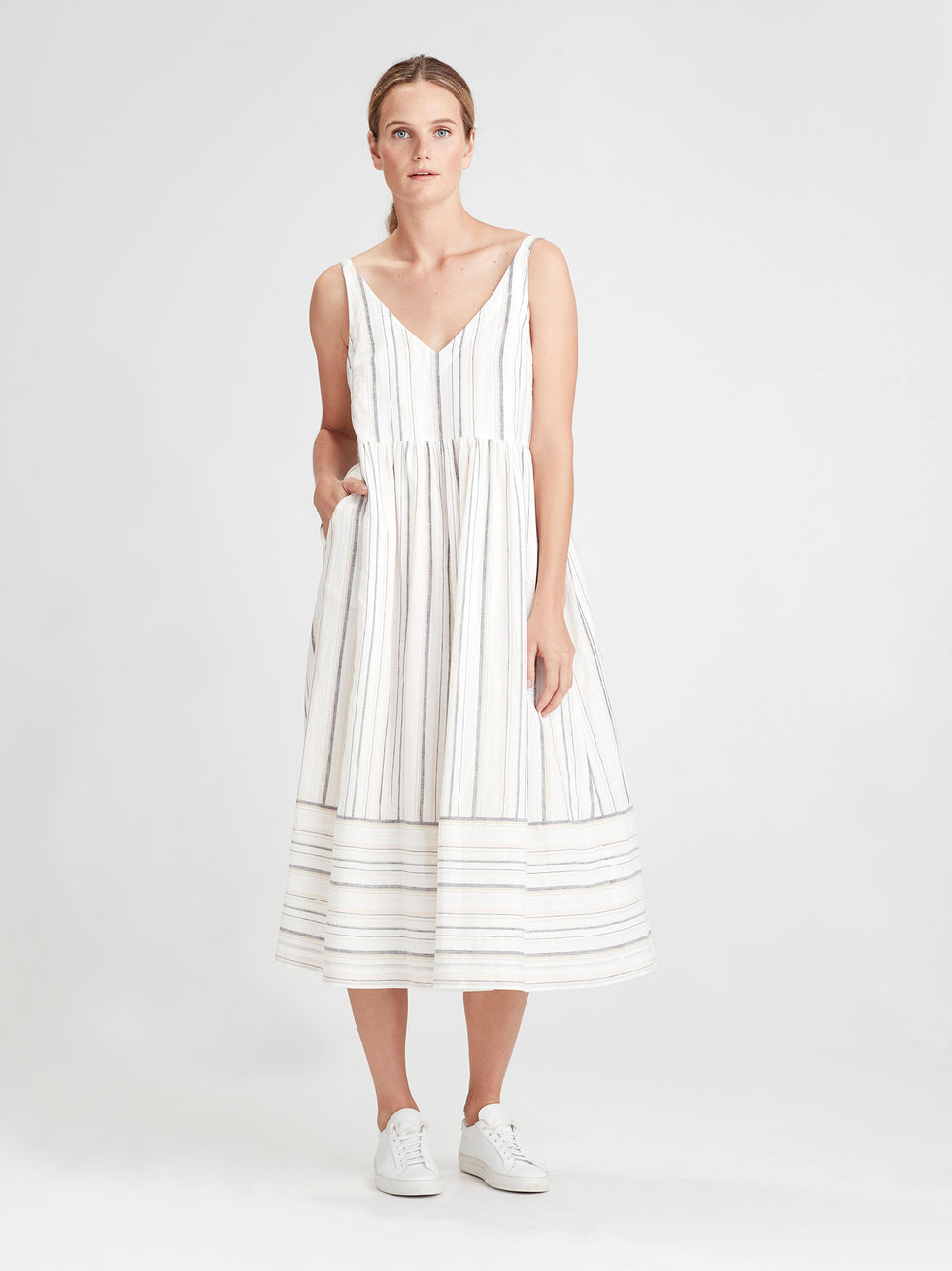 Franklyn Dress (Summer Stripe Linen) Candy