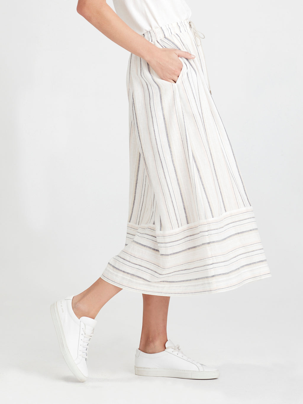 Karina Skirt (Summer Stripe Linen) Candy