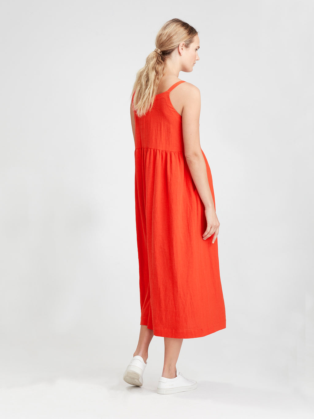 Palm Pinafore (Soft Crepe) Cherry