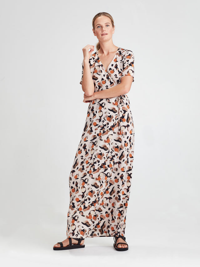 Danny Wrap Dress (Surreal Spot Silk) Rose Gold