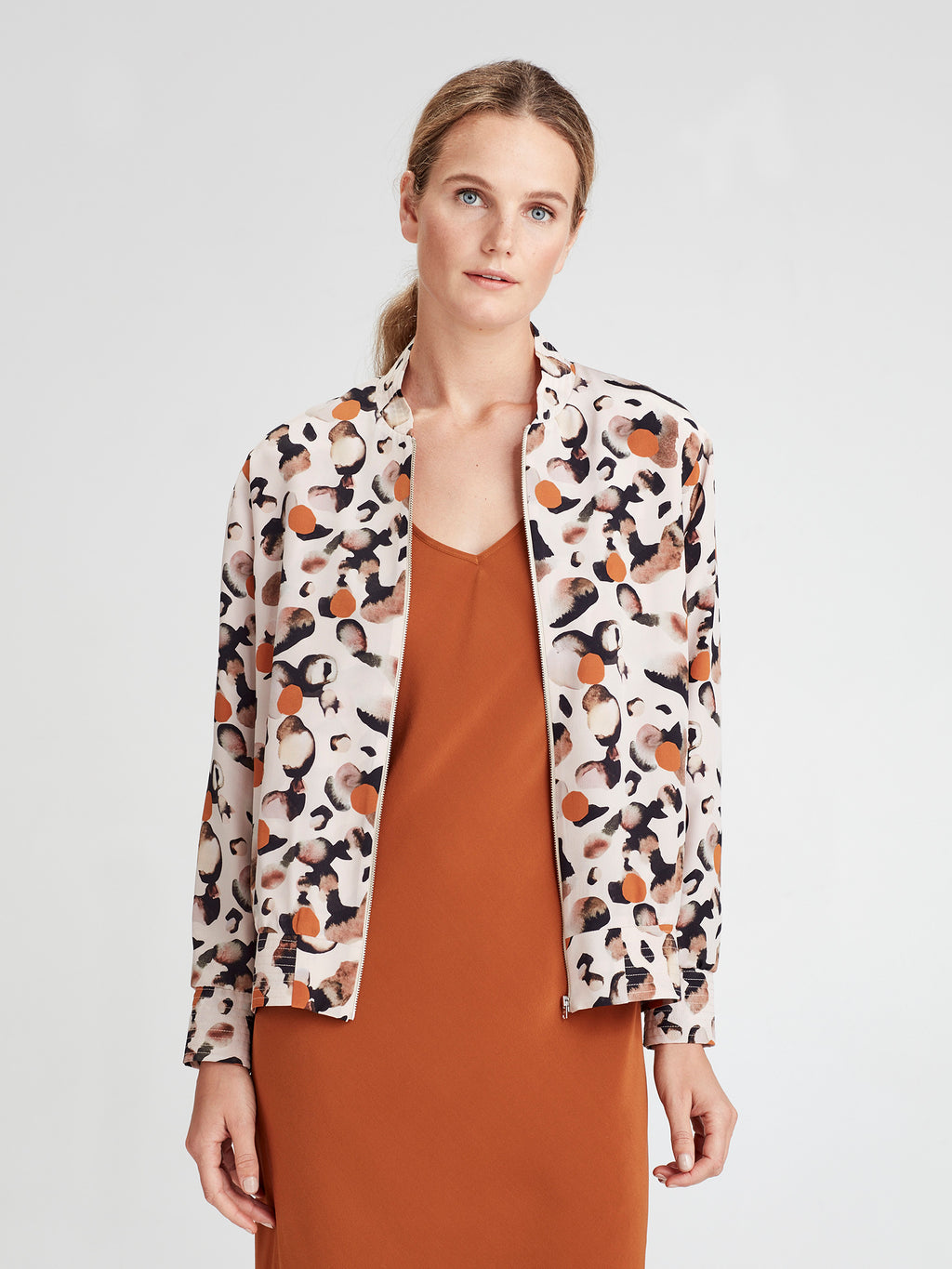 Silk Bomber (Surreal Spot Silk) Rose Gold