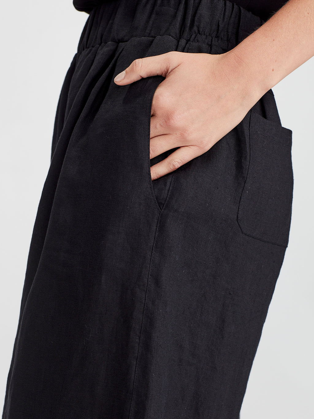 Ash Wide Leg Pant (Summer Linen) Black