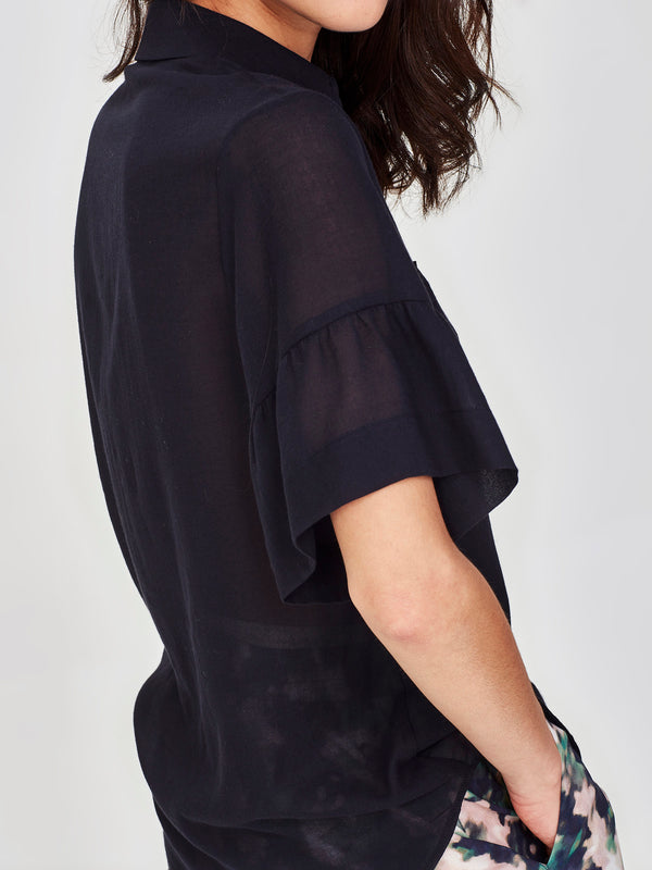 Elouise Blouse (Cotton Crepe) Navy