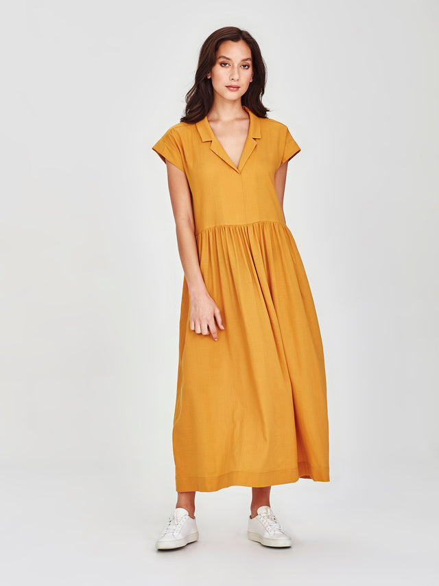 Maddie Dress (Cotton Crepe) Marigold