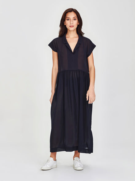 Maddie Dress (Cotton Crepe) Navy