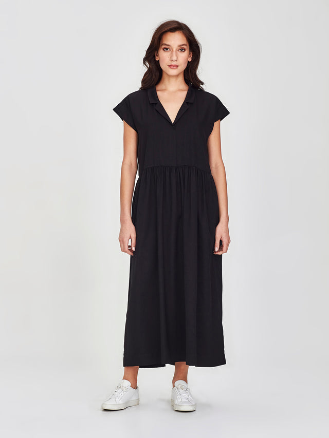 Maddie Dress (Matte Satin Twill) Black