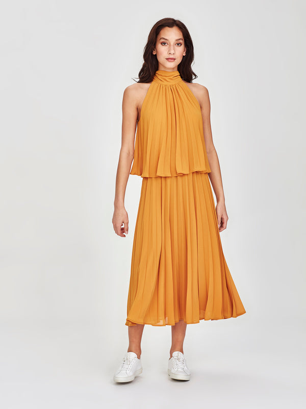 Amaya Pleat Dress (Pleated Chiffon) Marigold