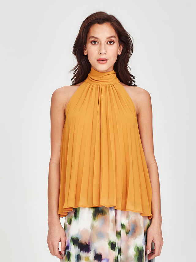 Elena Pleat Blouse (Pleated Chiffon) Marigold