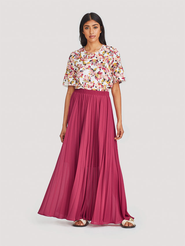 Evelyn Pleat Skirt (Pleated Chiffon) Berry