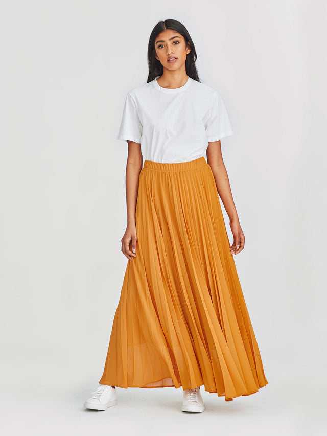 Evelyn Pleat Skirt (Pleated Chiffon) Marigold