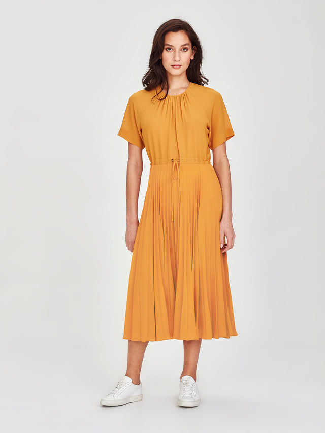 Gracie Pleat Dress (Pleated Chiffon) Marigold