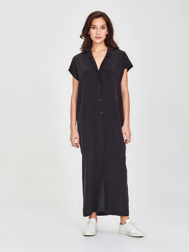 Shadow Shirtdress (Soft Silk) Black