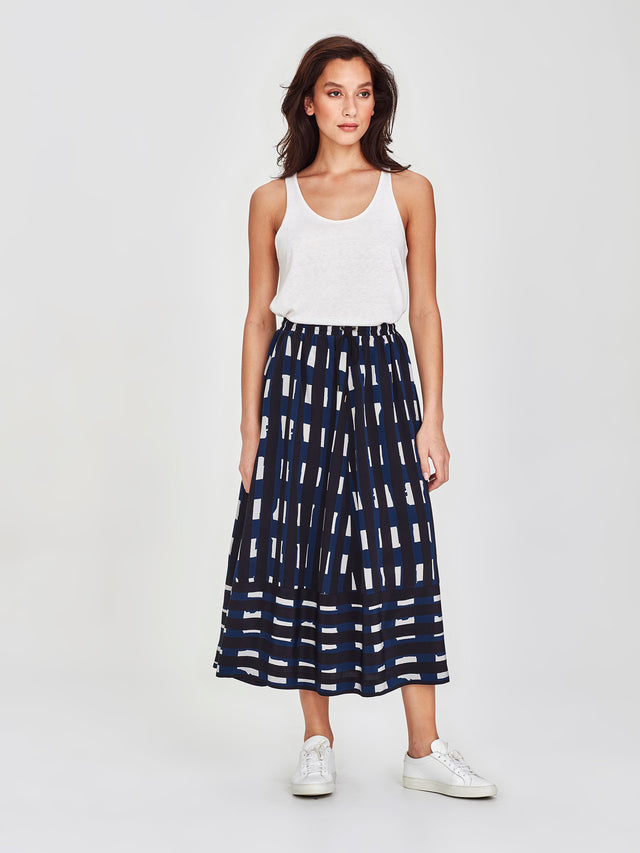 Karine Skirt (Collage Stripe) Ink