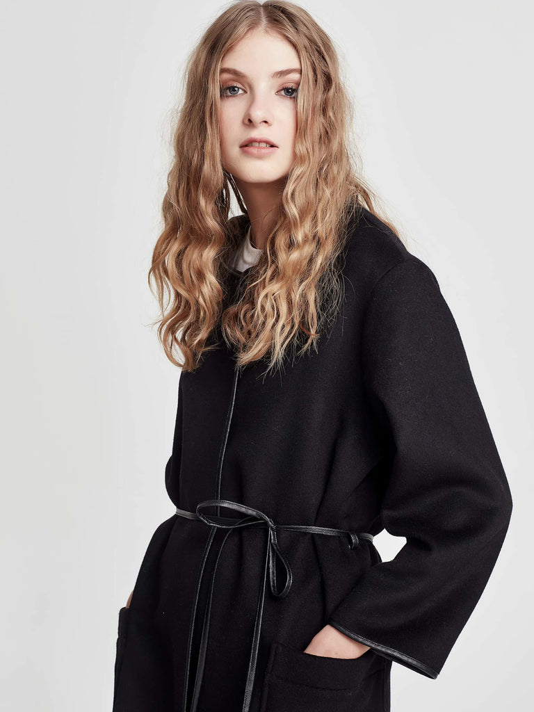 Shae Coat (Double Faced Wool) Black